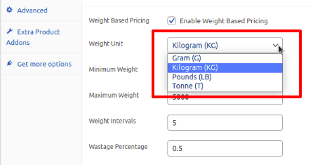 putting the weight unit in woocommerce
