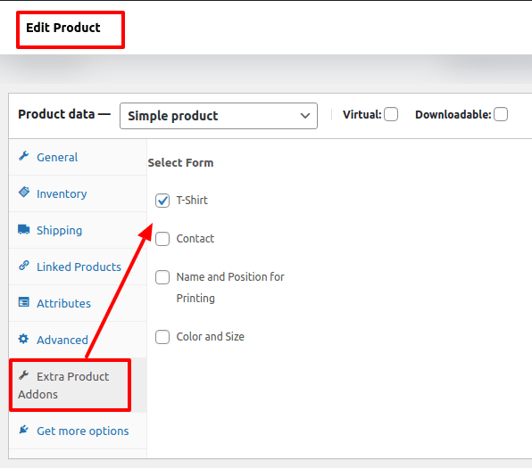 selecting the tshirt option on extra product addons plugin