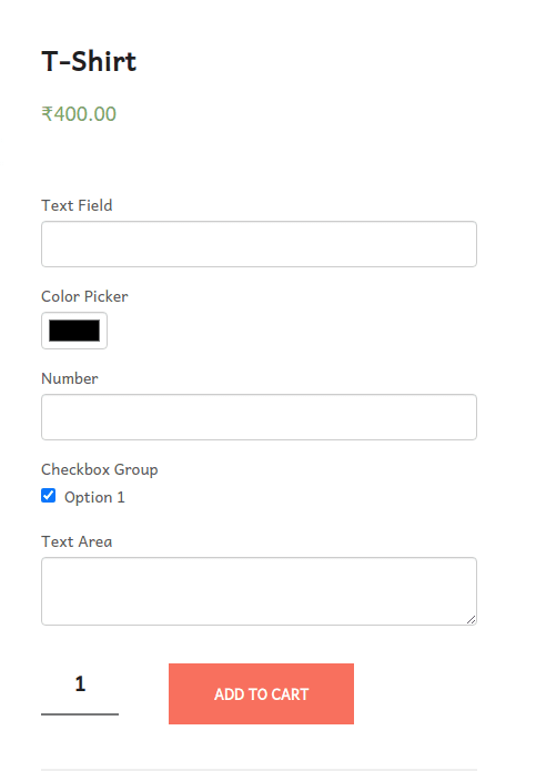 checkout field of tshirt with the checkbox group field