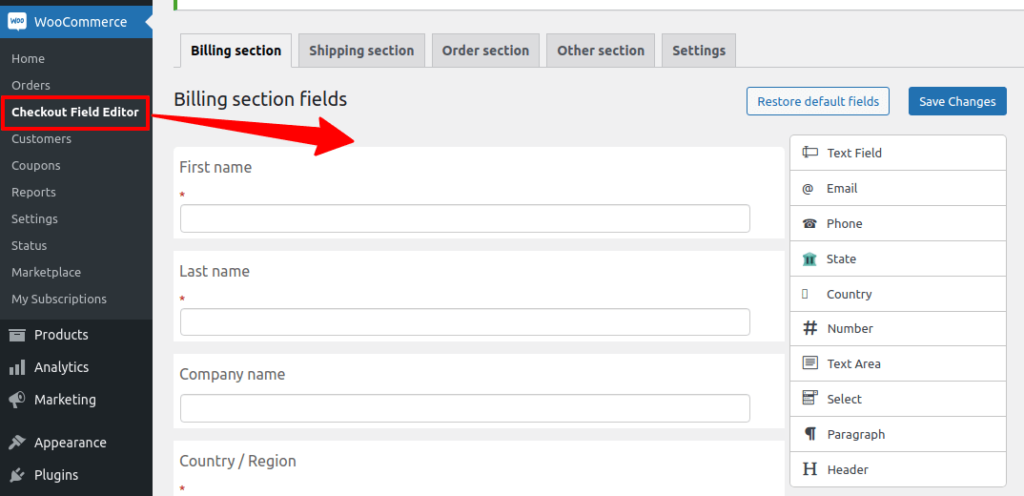 billing section fields page of checkout field editor plugin