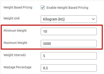 setting the maximum and minimum values