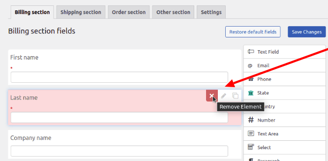 removing an element from the billing address field