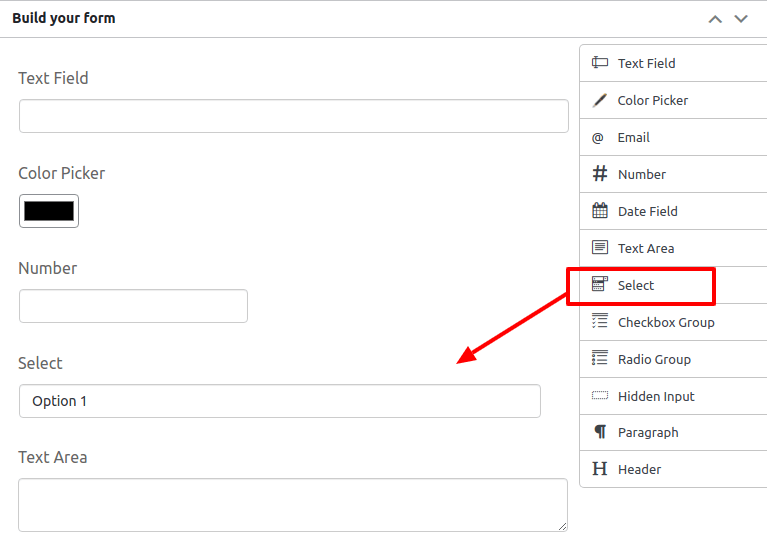 drag and drop the slelect field in build your form page