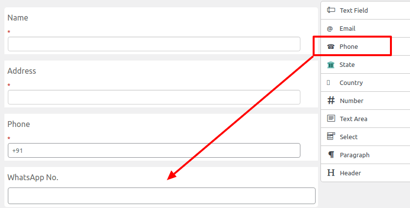 adding custom phone number field in the woocommerce checkout page