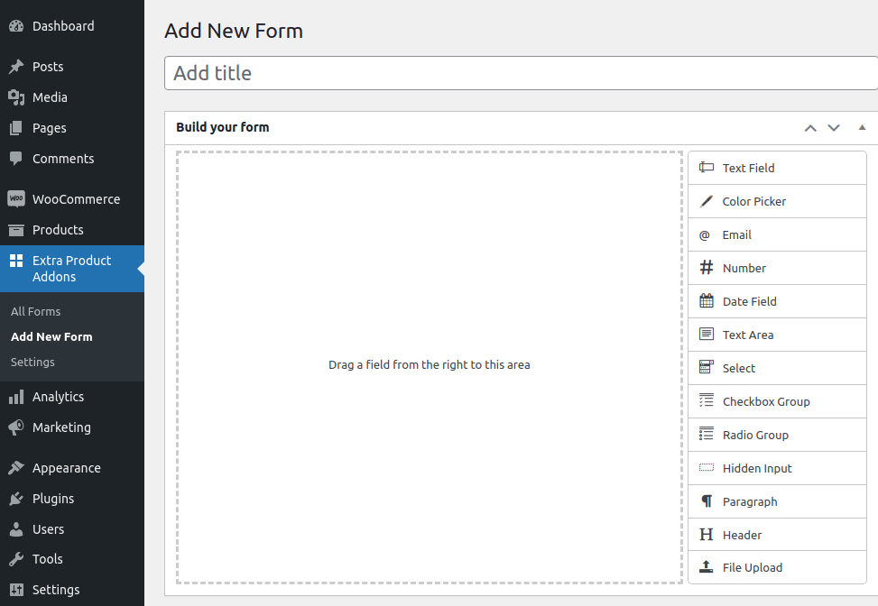build your form page of extra product addon plugin