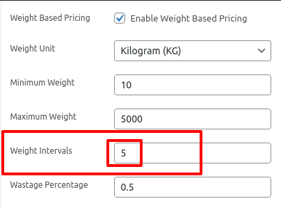 setting the weight interval value