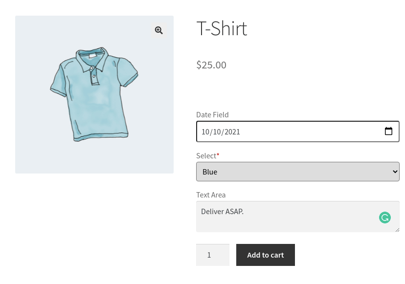 checkout page of tshirt in woocommerce