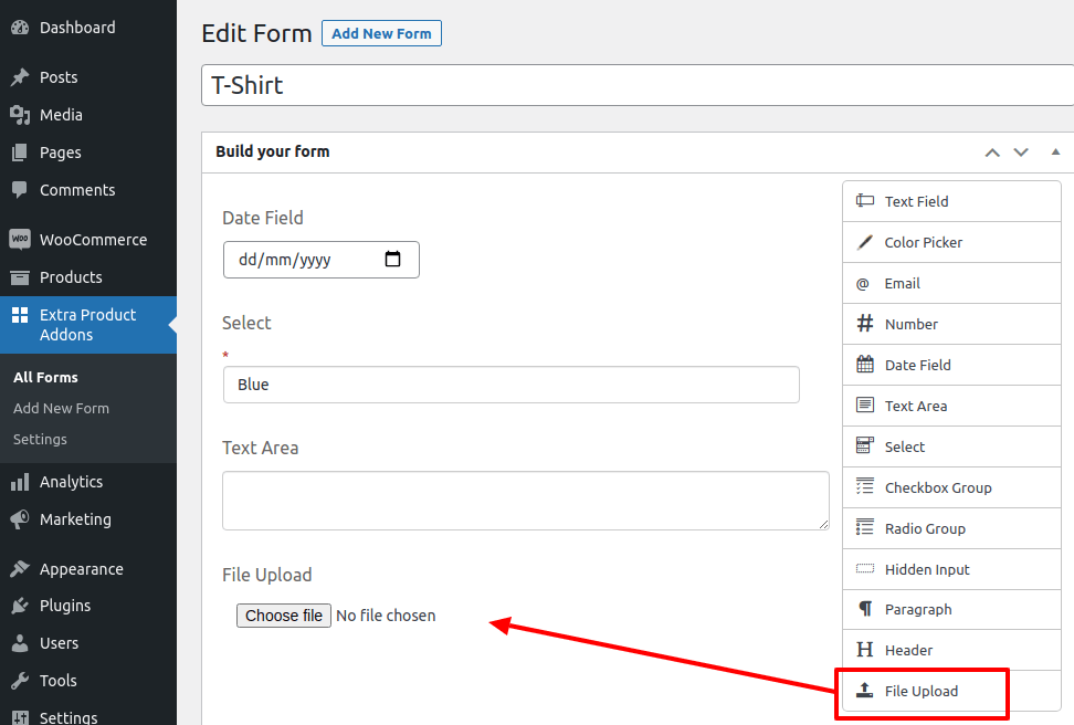 drag and drop the file upload field in the build your form page