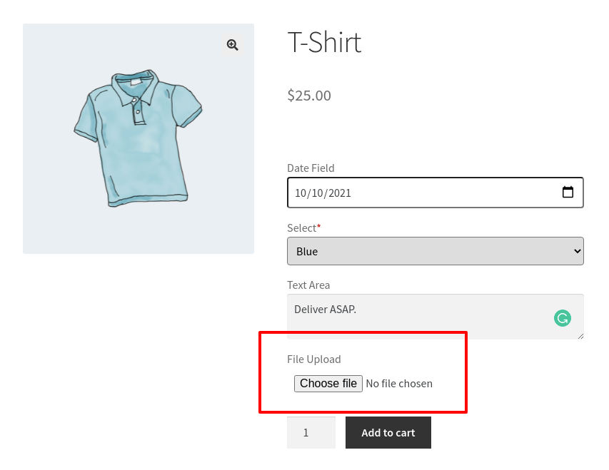 checkout page with the addition of file upload field