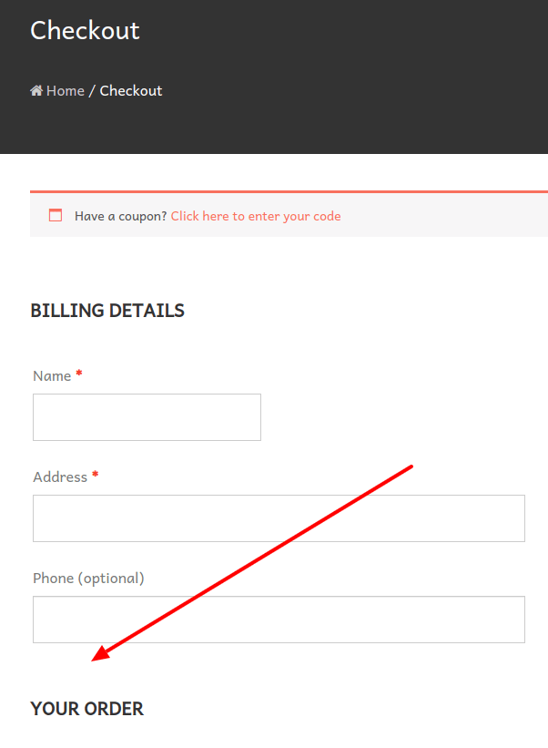 checkout page without email address field