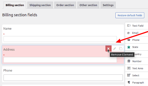 Billing section fiels of checkout field editor and checkout manager plugin
